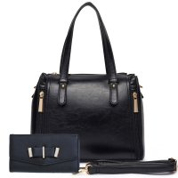 Black Solid Classic Double Hardware Handbag Set - SAC3 5797-661