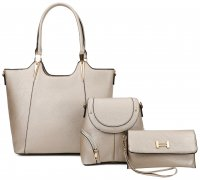 GOLD 3IN1 MODERN STYLISH SATCHEL BACKPACK AND CLUTCH SET