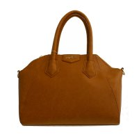Brown LOEM Signature Top Handle Structured Handbag - LM-608
