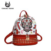 Red Cowgirl Trendy 2 Compartment Small Backpack - SKU11 5449S