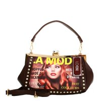 Brown Signature Inspired Frame Handbag - MG02505