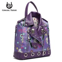 Purple 'Skull & Cross' Biker Jacket Handbag - SKUM 5386