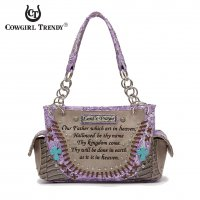 Purple Western Cowgirl Lord's Prayer Handbag - LOD 8469