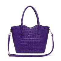 Purple Top Handle Crocodile Shopper Handbag - CCR2 5713