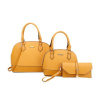 MUSTARD 3IN1 2 DOMED SATCHEL BAGS AND CLUTCH SET