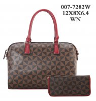Wine Red 2 In 1 Fashion Signature Handbag With Wallet - 007-7282