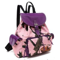 Purple Leaves and Trees Pink Camo Ladies Backpack - PML5 5252