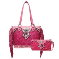 Fuchsia Western Fringed Tote Handbag and Wallet - NTR 5746-300