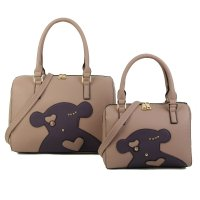 PINK 2IN1 CUTE FASHION BEAR PATCH BOSTON BAG SET WITH LONG STRAP