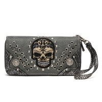 Grey 'Cowgirl Trendy' Sugar Skull Zip Wallet - SKW3 300