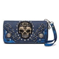 Blue 'Cowgirl Trendy' Sugar Skull Zip Wallet - SKW3 300