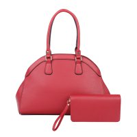 RED 2IN1 STYLISH FASHION DOMED SATCHEL WITH MATCHING WALLET