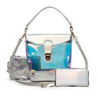 Silver Hologram 3 In 1 Bucket Shoulder Handbag Set - HAR5 2589