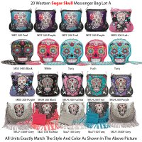 20 Western Sugar Skull Messenger Bags - Lot A