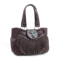 Coffee 'Cowgirl Trendy' Fringed Handbag - MJ6802 CF