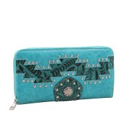 Turquoise Cowgirl Trendy Aztec Zip-Aroun Wallet - MJ7005N