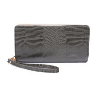 GREEN FASHION TEXTURED DOUBLE SIDE LONG WALLET WITH HAND STRAP