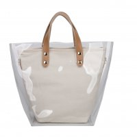 BEIGE CUTE TRENDY TRANSPARENT OUT LAYER TOTE BAG
