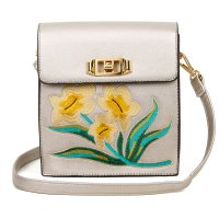 PEWTER DESIGNER CUTE FLOWER EMBROIDERY CROSSBODY BAG