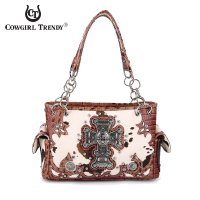 Brown Western Cow Print And Cross Handbag - BCO2 8469