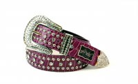 Purple Rhinestone Studded Western Belt - PTG102 L