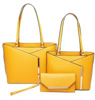 MUSTARD 3IN1 MODERN STYLISH TOTE AND CLUTCH SET