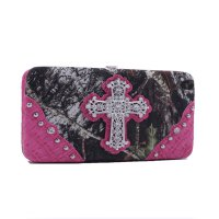 Fuchsia 'Mossy Oak' Hard Case Wallet - MT1-AW251 MO/FU