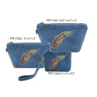 Navy Travel Makeup Toiletry Wallet Pouch Bag - 3 piece Set
