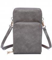 PRUNES DOUBLE ZIPPER MULTI POCKET CROSSBODY WALLET