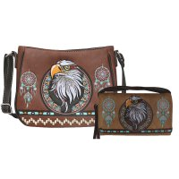 Brown Concealed Eagle Embroidery Messenger Bag Set - G603221
