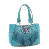 Turquoise 'Real Tree' Fringed Western Handbag - MJ6802
