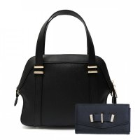 Black Solid Classic Double Hardware Handbag - Set - HNA 2079-661