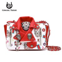 Red 'Skull & Cross' Biker Jacket Handbag - SKUM 5395