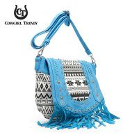 Aqua Aztec Print Embroidery Flap Over Fringe Messenger Bag - CND