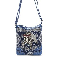 Blue 'Native American' Western Messenger Bag - INW 4699