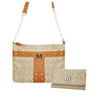 Tan M-Style Messenger Bag with Wallet - K1558-KW267