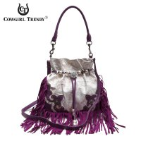 Purple Fringe And Engrave Accented Bucket Handbag