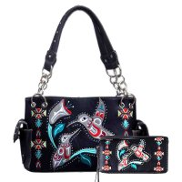 Black Hummingbird Embroidery Concealed Handbag Set - G939216