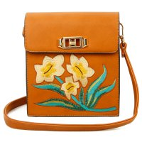 BROWN DESIGNER CUTE FLOWER EMBROIDERY CROSSBODY BAG