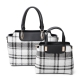 BLACK 2IN1 CHIC PLAID CHECK SATCHEL SET WITH LONG STRAP