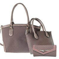 Pink 3 in 1 Signature Inspired Fashion Handbag - T60-816