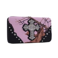 Black 'Mossy Pink' Hard Case Wallet - MT1-AW251 MP/BK