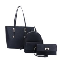 BLACK 3IN1 DESIGNER FASHION TOTE BACKPACK AND CLUTCH SET