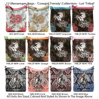12 Messenger Bags - 'Cowgirl Trendy' Collection - Lot 'Tribal'