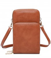 BROWN DOUBLE ZIPPER MULTI POCKET CROSSBODY WALLET