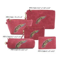Red Wine Travel Makeup Wallet Pouch Bag Close Out - 5 piece Set