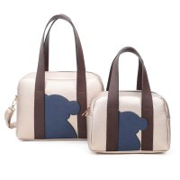 CHAMPANGE 2IN1 CUTE BEAR PATCH BOSTON BAG SET WITH LONG STRAP