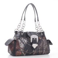 Black Mossy Oak Camo Buckle Western Handbag - MT1-51747B