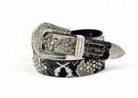 8-Pack Gray DG Rhinestone Studded Belt - PTG104 BOX