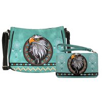 Teal Concealed Eagle Embroidery Messenger Bag Set - G603221